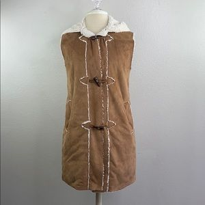 a.gain Brown suede hooded vest, size small/medium